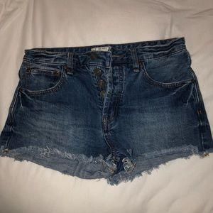 Free People denim mid rise shorts